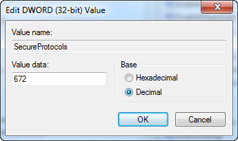 regedit dialog showing radio buttons for selecting Hexadecimal or Decimal input. Be sure the selection matches the number you are inputting.