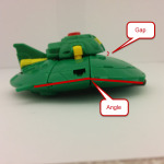 Cosmos figure in UFO mode side view showing angle and gap