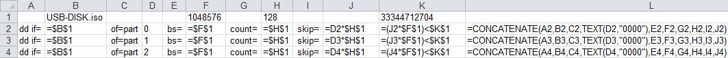 Snippet of Excel sheet showing formulas
