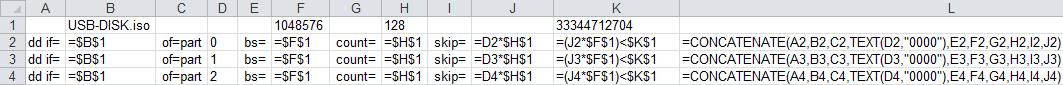 Snippet of Excel sheet showing formulas