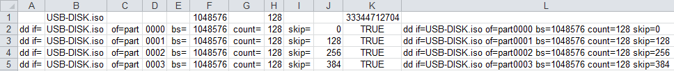 Snippet of an Excel sheet to fill in the right values in my dd batch/shell script.
